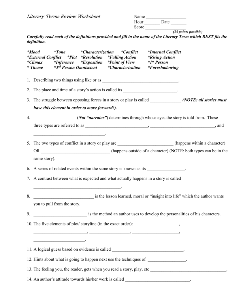 Literary Terms Review Worksheet