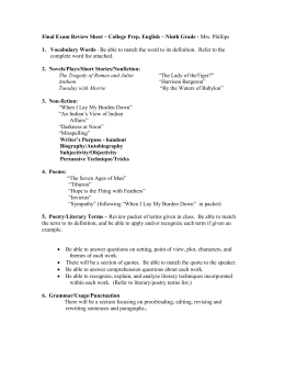 Review Sheet – College Prep