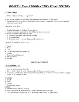 8th Grade Nutrient Study Guide