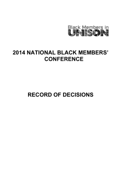 Record of decisions for the 2014 Black members conference