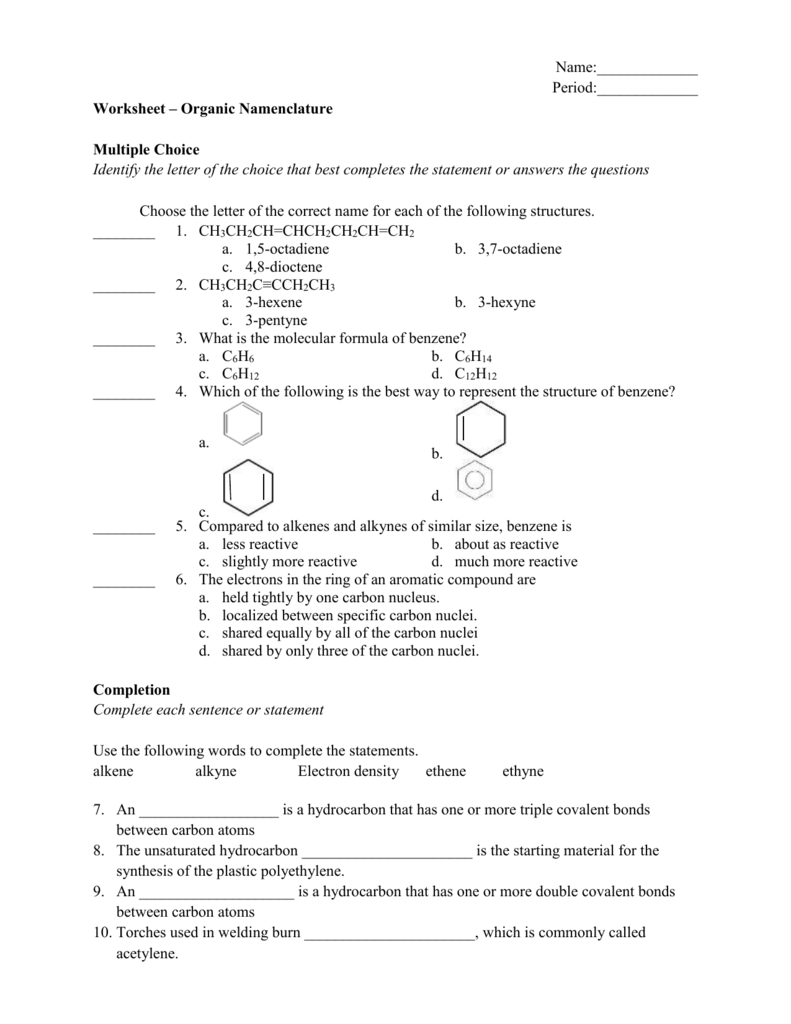 Name Period Worksheet Organic Namenclature