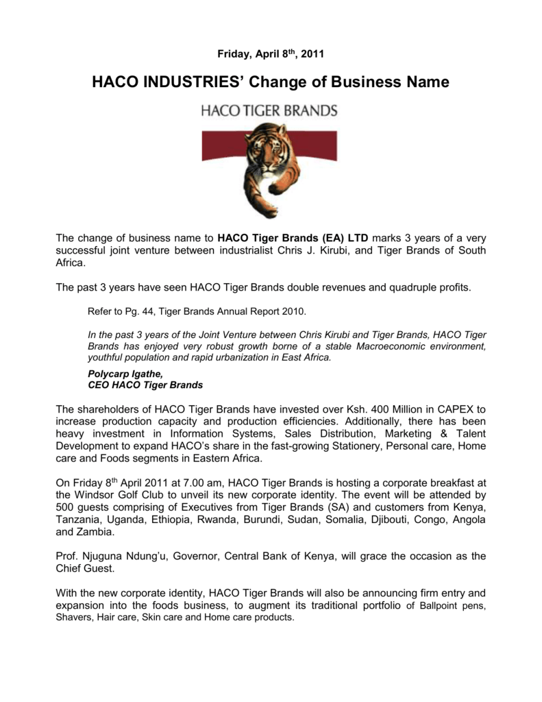 Haco Tiger Brands Press Release Change Of Business Name