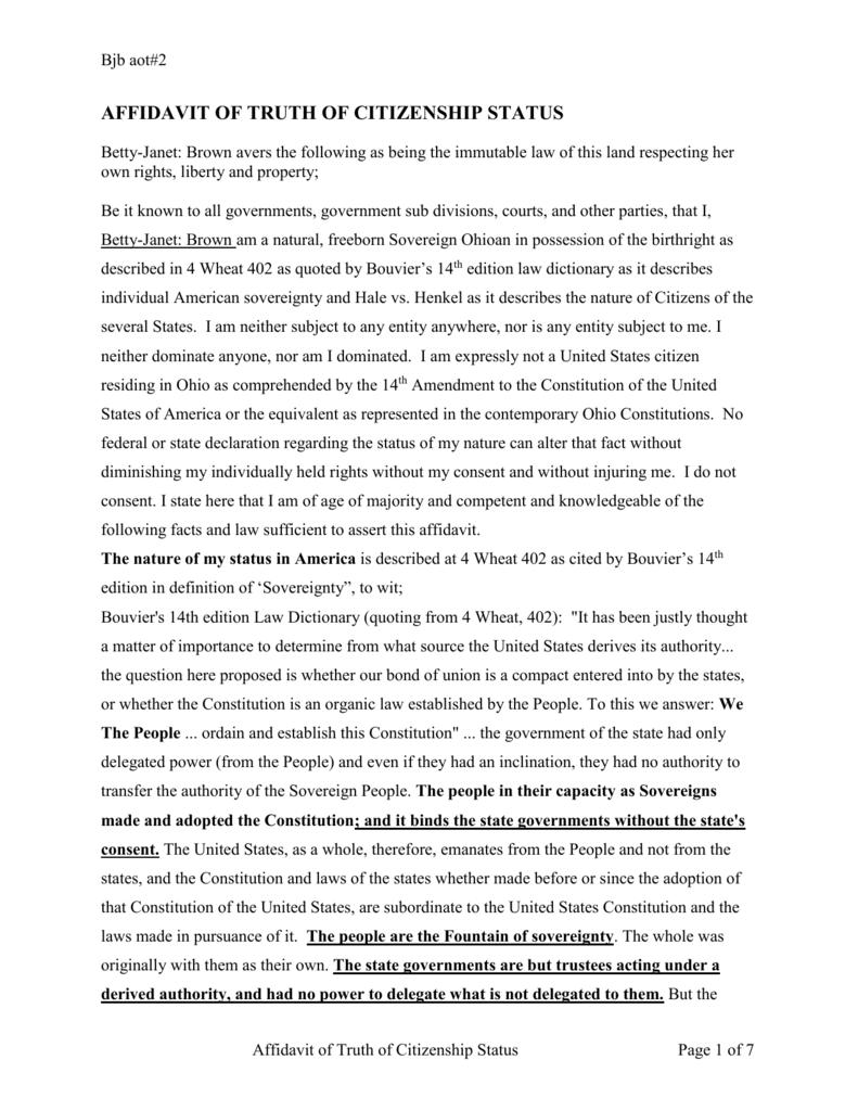 affidavit of truth of citizenship status