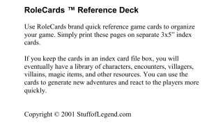 RoleCards ™ Reference Deck