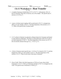 #4 Thermodynamic Calculations with Metals Worksheet
