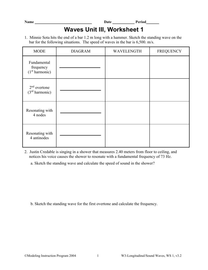 worksheet Diagram Of A Wave Worksheet unit 3 worksheet 1