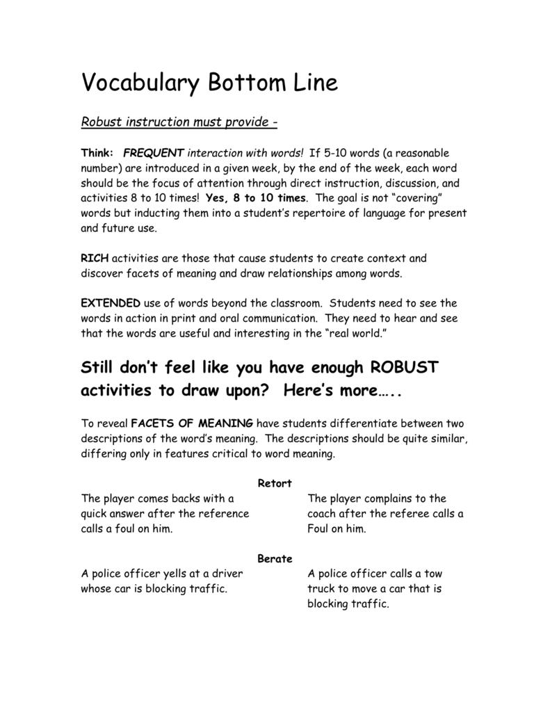 Vocabulary Bottom Line
