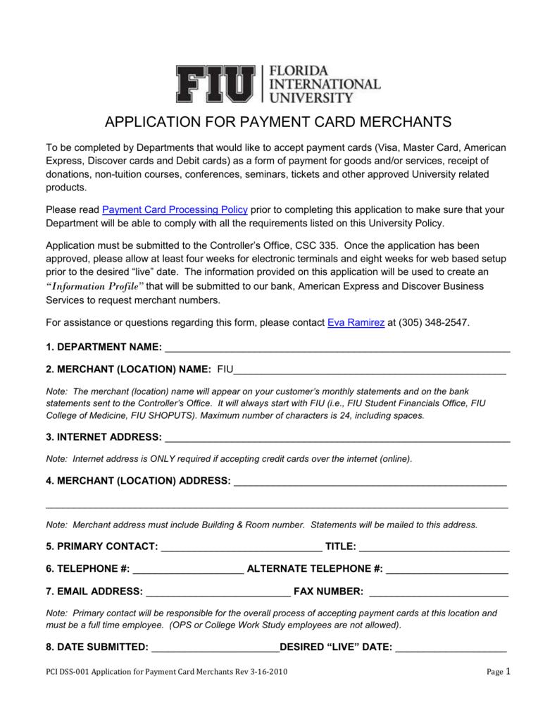 Application for Payment Card Merchants