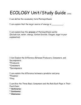 ECOLOGY Unit/Study Guide (2015) I can define the vocabulary term