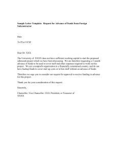 Sample Letter Template: Request for Advance of Funds from