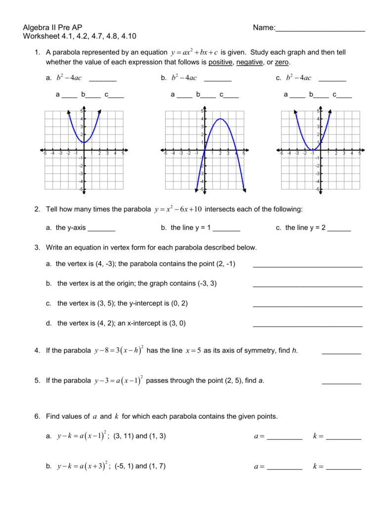 """H/GT Algebra 2 – worksheet """"4"""