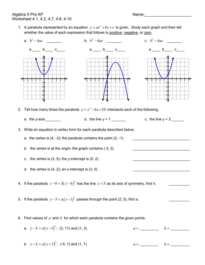 worksheet Parabola Worksheet hgt algebra 2 worksheet