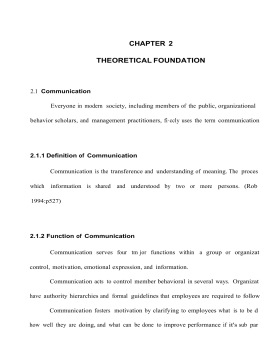 CHAPTER 2 THEORETICAL FOUNDATION 2.1 Communication