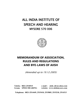 Rules and Byelaws - All India Institute of Speech and Hearing