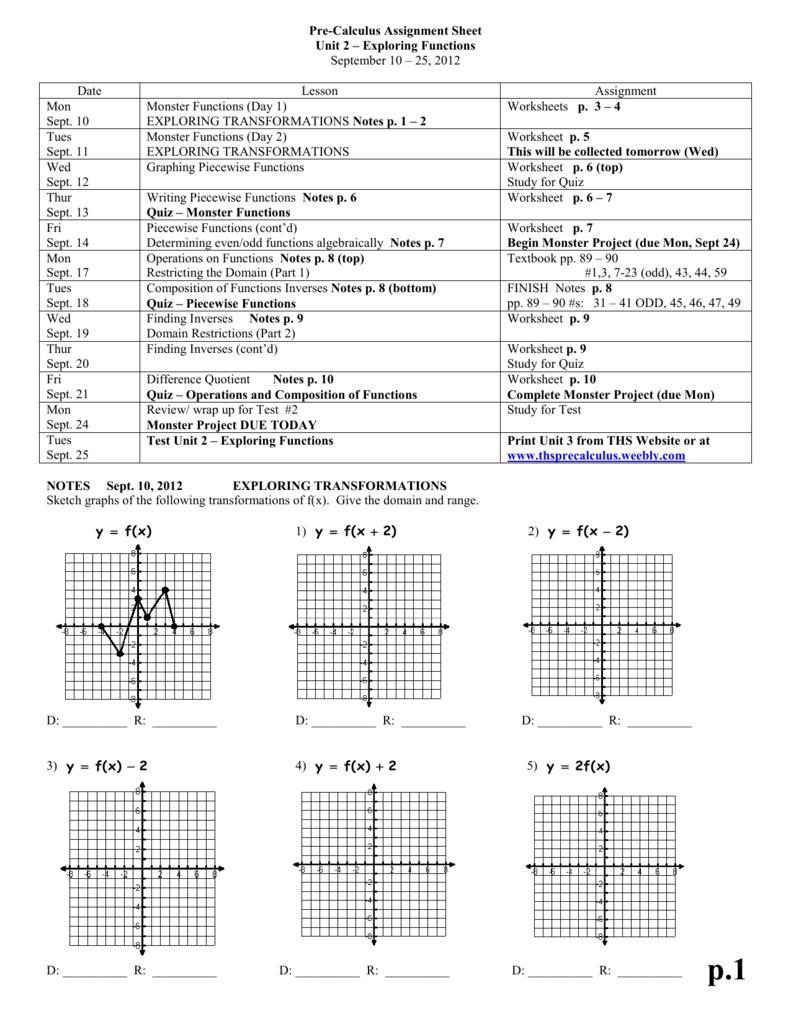 Pre-Calculus Assignment Sheet