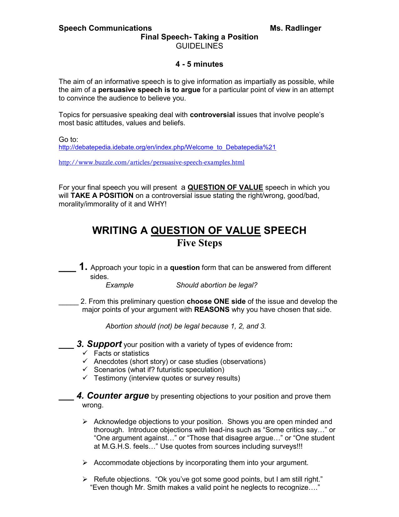 Final Exam Persuasive Speech
