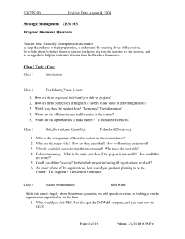 MUST Strategic Management Discussion Questions