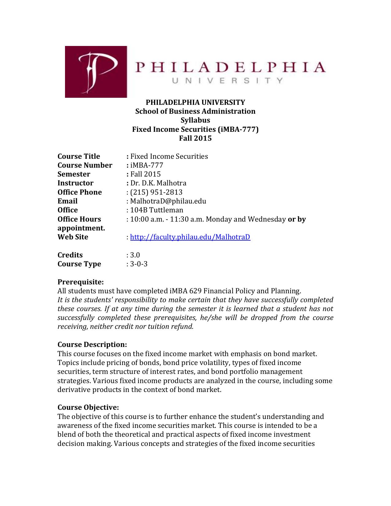 Philadelphia University Tuition >> Fixed Income Securities Philadelphia University Faculty Websites