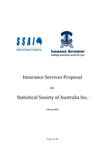 Insurance Services Proposal - The Statistical Society of Australia
