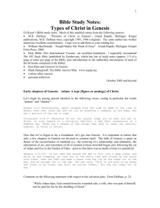 Bible Study Notes on Types of Christ in Genesis