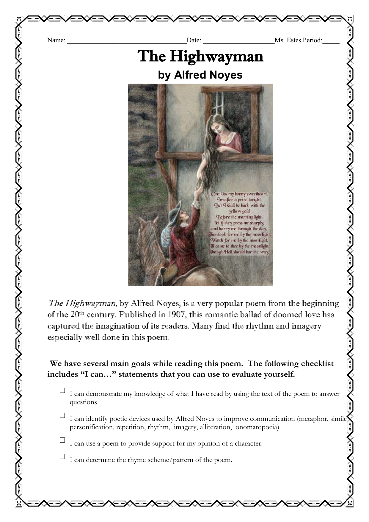 the highwayman poem questions