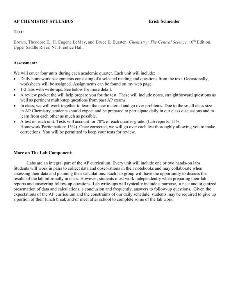 AP Chemistry - Shorecrest Preparatory School