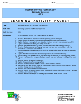 Operating Systems and File Management Learning Steps LAP CC