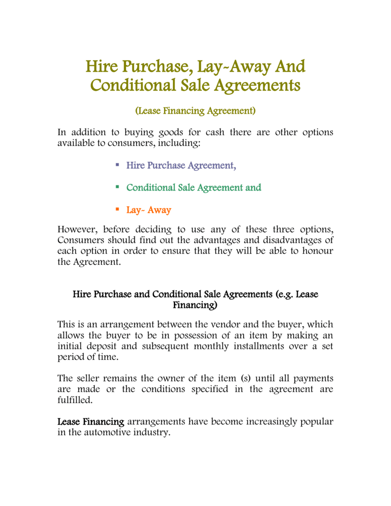 Hire Purchase Lay Away And Conditional Sale Agreements