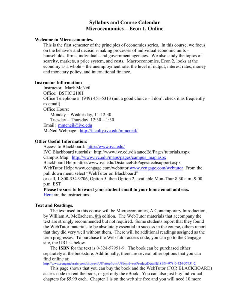 1 Econ 1 Online Syllabus Syllabus and Course Calendar