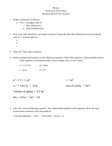Dimensional Analysis work sheet I