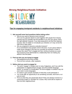 Strong Neighbourhoods Initiative Tips for engaging immigrant