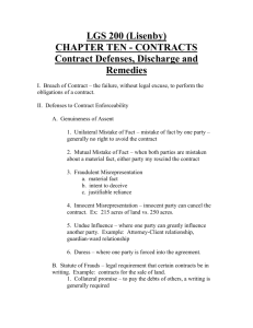 Chapter 12 – Contract Defenses, Discharge and