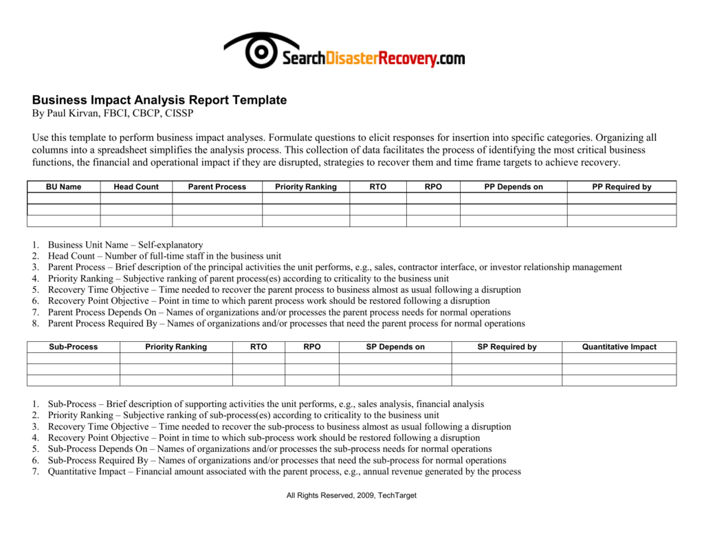 Downloadable business impact analysis template wajeb