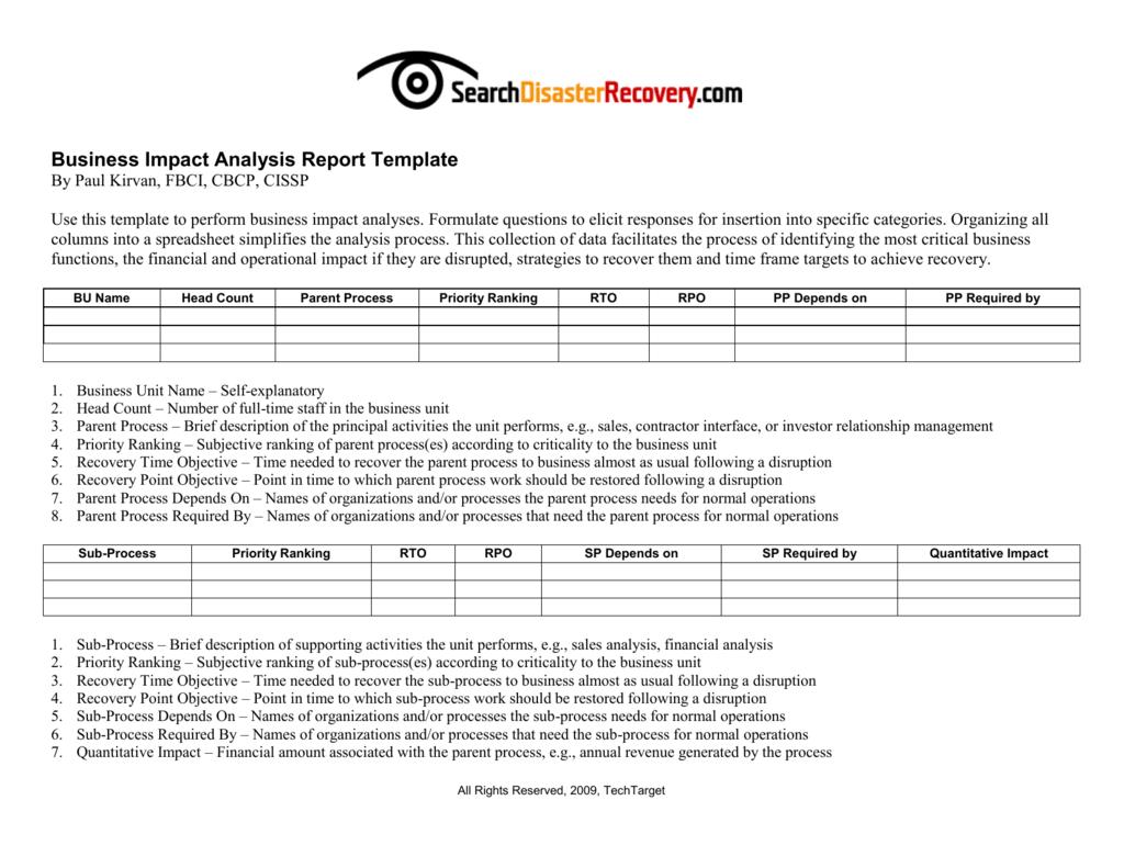 Downloadable business impact analysis template flashek Choice Image