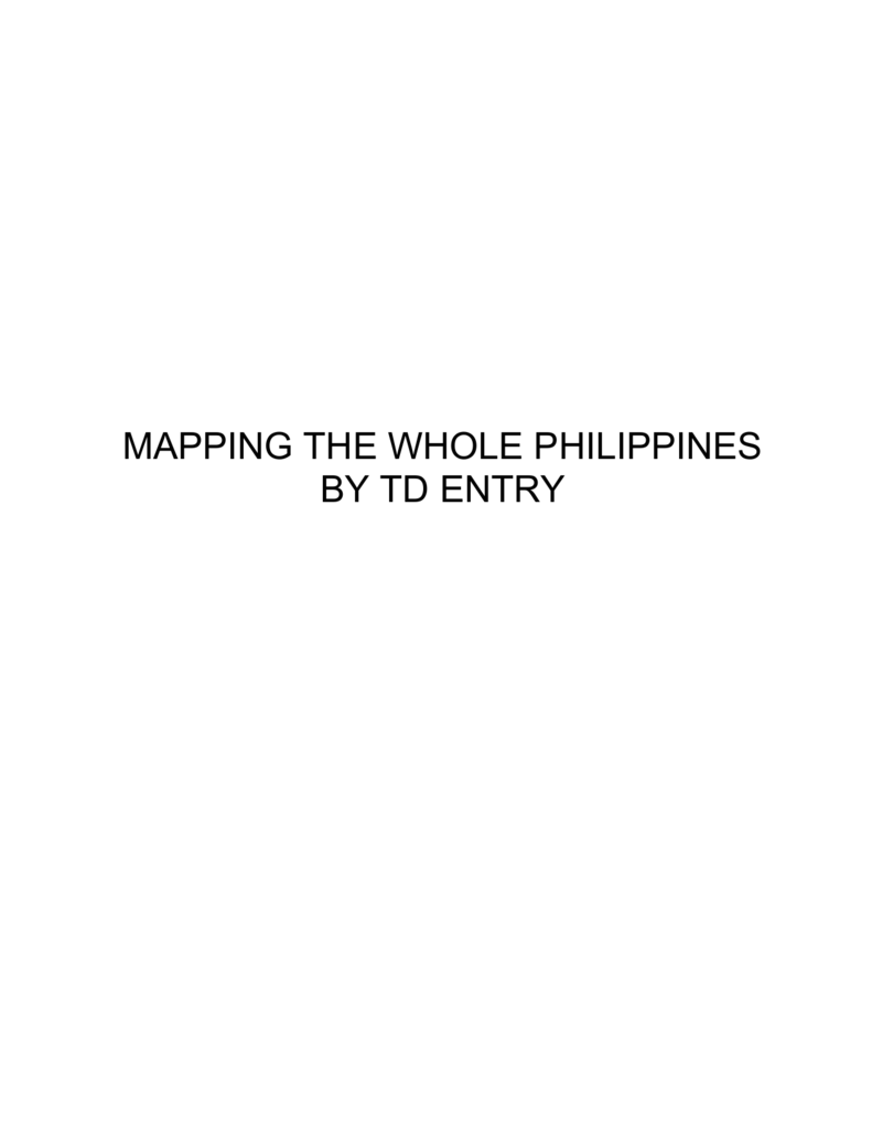 Mapping the Whole Philipines - Urban Leadership Foundation