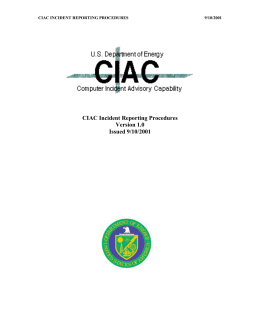 CIAC Incident Reporting Procedures