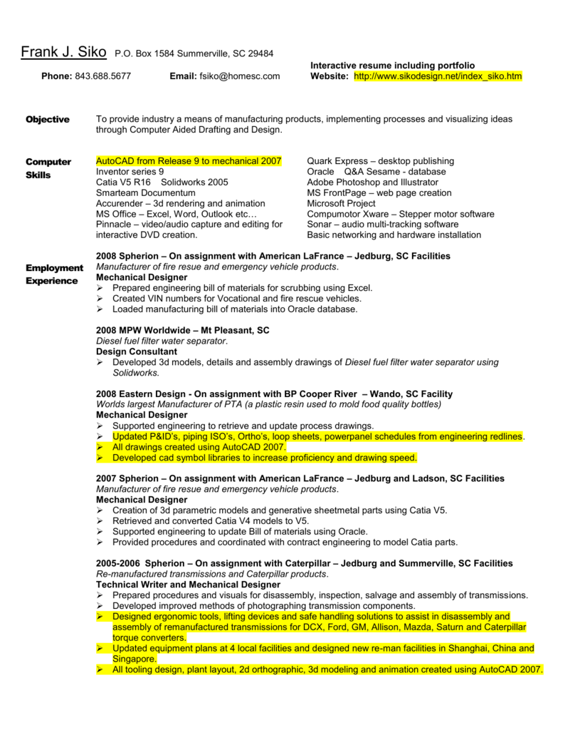 Resume - Computer Aided Design