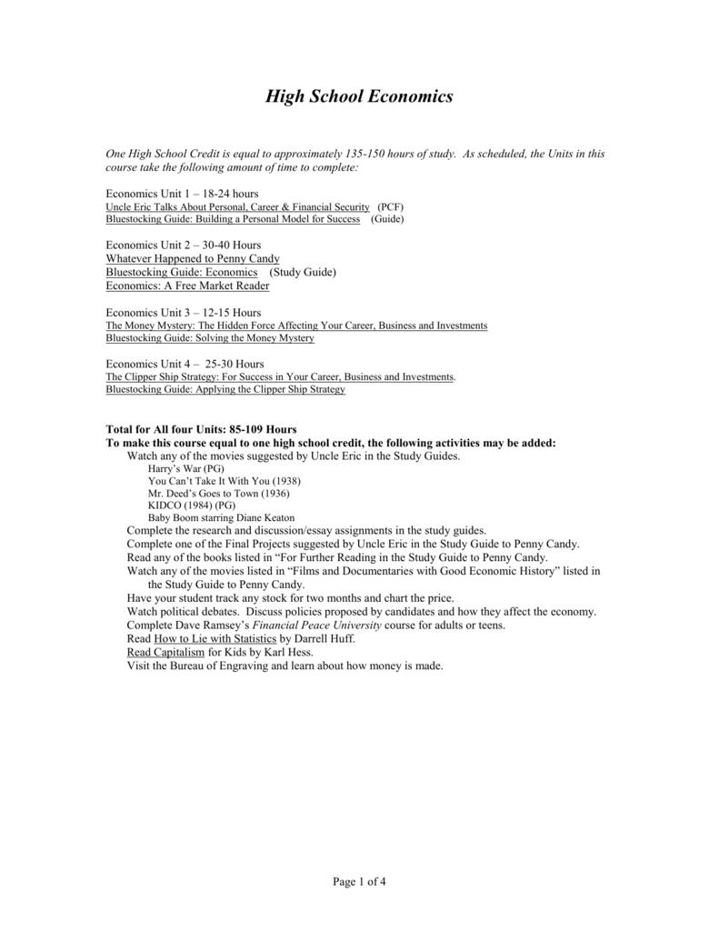 introduction to economics and law rh studylib net High School Economics Syllabus 5th Grade Study Guide