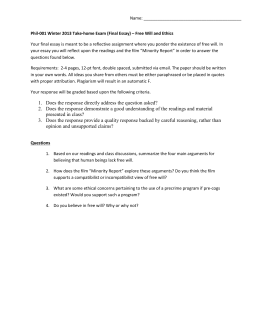 Name: Phil-001 Winter 2013 Take-home Exam (Final Essay) – Free