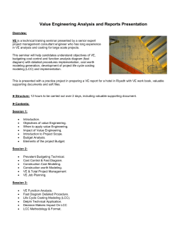 Value Engineering Analysis and Reports Presentation