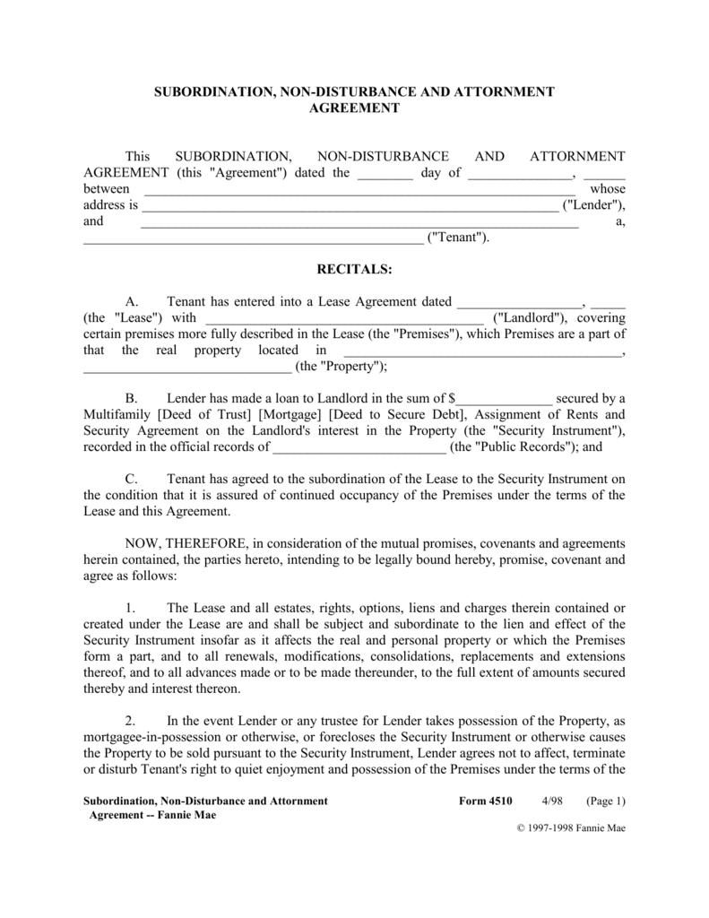 Subordination Non Disturbance And Attornment Agreement