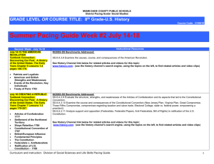 Grade 8 U.S. History Summe 2014 Pacing Guide Week 2