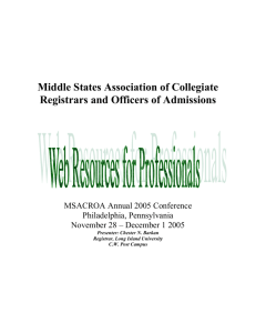 Web Resources for Professionals - Myweb @ CW Post