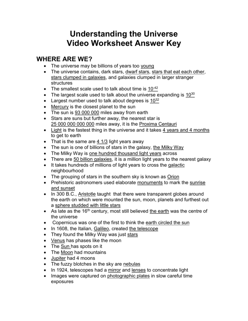 Understanding the Universe Answer Key