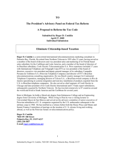 The President's Advisory Panel on Federal Tax Reform