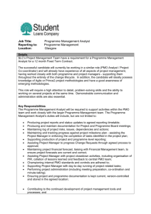 Job Title: Programme Management Analyst Reporting to