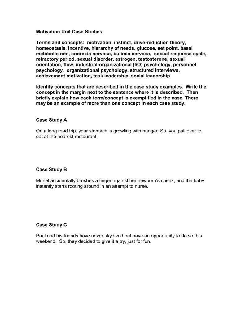 Motivation Unit Case Studies