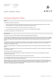 "Investment Programme ""Stocks"""