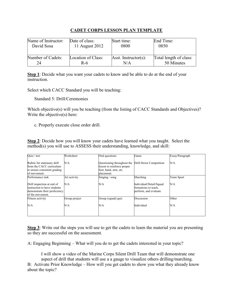 Cadet Corps Lesson Plan Template