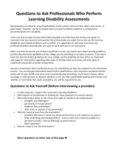 Handout with Questions for Students to ask of Providers